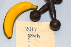 Años Nuevos de resoluciones y metas para la forma de vida y el nutrit sanos Imagen de archivo