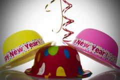 Años Nuevos de sombreros Foto de archivo libre de regalías