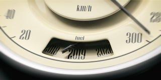 2019 Años Nuevos Detalle del primer del indicador de la gasolina del coche del vintage en fondo negro ilustración 3D Fotos de archivo libres de regalías