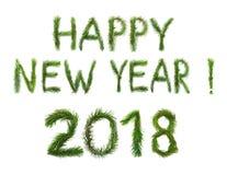 2018 Años Nuevos Dos mil dieciocho El ongratulation del ¡de Ð redacta Feliz Año Nuevo en inglés Los objetos se hacen de un pino q Fotos de archivo