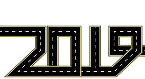 2019 Años Nuevos El camino se estiliza bajo la forma de inscripción Aislado Ilustración ilustración del vector
