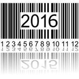 2016 Años Nuevos en el código de barras Fotos de archivo libres de regalías