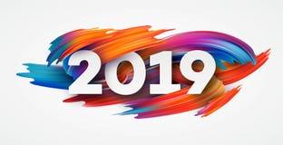2019 Años Nuevos en el fondo de un elemento colorido del diseño del aceite o de la pintura acrílica de la pincelada Ilustración d stock de ilustración