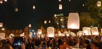 Años Nuevos Eve Chiang Mai Thailand del festival de linterna fotos de archivo libres de regalías
