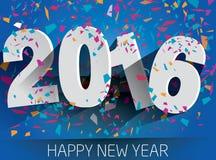 2016 Años Nuevos feliz con confeti que cae Illustr de papel del vector Fotografía de archivo