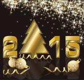 2015 Años Nuevos feliz con el árbol de oro de Navidad Imagenes de archivo