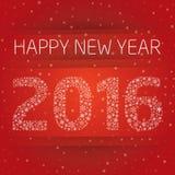 2016 Años Nuevos feliz con el copo de nieve Fotos de archivo libres de regalías