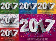 Años Nuevos feliz de la colección 2017 con confeti que cae PA del vector Fotografía de archivo libre de regalías
