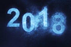 2018 Años Nuevos Fondo abstracto azul del cielo nocturno Imagen de archivo libre de regalías
