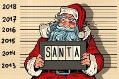 2018 Años Nuevos, foto Santa Claus divertida bajo detención Imagenes de archivo