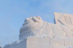 2015 Años Nuevos lunares chinos de la nieve de la cabra Fotos de archivo libres de regalías