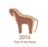 2014 Años Nuevos lunares chinos del caballo, juguete de madera Fotografía de archivo libre de regalías