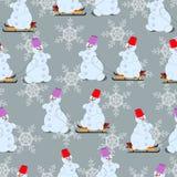 Años Nuevos, modelo inconsútil, muñecos de nieve en el trineo Foto de archivo