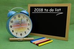 2018 Años Nuevos para hacer la lista Foto de archivo