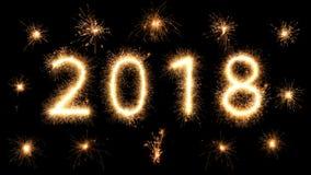 Años Nuevos que brillan intensamente brillantes 2018 de la bengala del fuego artificial Imagen de archivo