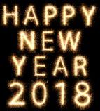 Años Nuevos que brillan intensamente brillantes 2018 de la bengala del fuego artificial Foto de archivo