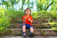 2 años preciosos de niño que se sienta en las escaleras al aire libre en verano Imagen de archivo libre de regalías