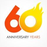 60 años que celebran el logotipo ardiente Imagen de archivo libre de regalías
