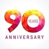 90 años que celebran el logotipo ardiente Foto de archivo