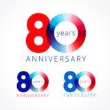 80 años que celebran el logotipo coloreado ilustración del vector