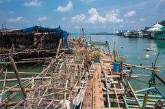 Aúlle en el pueblo pesquero de la explosión Bao Imagenes de archivo