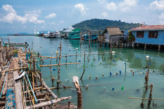 Aúlle en el pueblo pesquero de la explosión Bao Foto de archivo