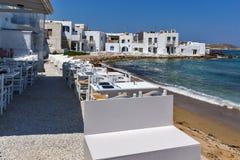 Aúlle en la ciudad de Naoussa, isla de Paros, Grecia Foto de archivo libre de regalías