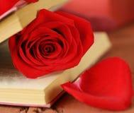 Aún libro de la vida y rosa románticos del rojo Foto de archivo