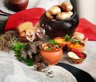 Aún pote de guisado de la vida, patatas, alces, cerámica y vidrio rústicos de vodka Imágenes de archivo libres de regalías