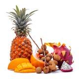 Aún vida brillante de diversas frutas tropicales Imágenes de archivo libres de regalías