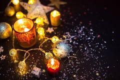 Aún-vida brillante de las decoraciones de la Navidad Imágenes de archivo libres de regalías
