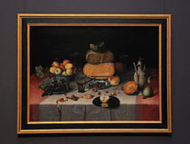Aún vida clásica con la fruta, el queso, las nueces y el vino en el Ri Fotografía de archivo