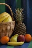 Aún-vida completa de la fruta de la cesta Imágenes de archivo libres de regalías
