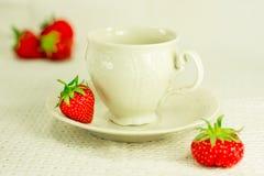 Aún-vida con el juego de té y la fresa Foto de archivo libre de regalías