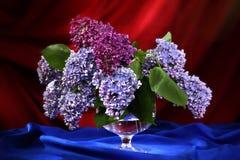 Aún-vida con el ramo de lila en florero decorativo Imagen de archivo