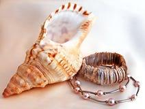 Aún-vida con el shell y los joyeros. Imagen de archivo libre de regalías