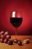 Aún-vida con el vidrio de vino rojo Fotos de archivo
