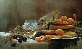 Aún-vida con el vino blanco, los albaricoques y las tortas planas Imagen de archivo