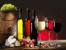 Aún-vida con el vino y la uva Fotos de archivo