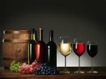 Aún-vida con el vino y las uvas Fotos de archivo libres de regalías
