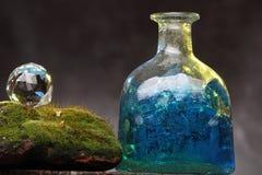 Aún-vida con la botella y el musgo viejos Concepto de la ecología Imagen de archivo libre de regalías