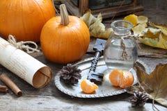 Aún-vida con las calabazas y las hojas de otoño decorativas Imagenes de archivo