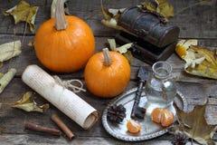 Aún-vida con las calabazas y las hojas de otoño decorativas Fotografía de archivo