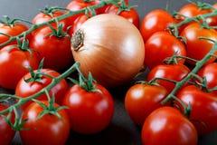 Aún-vida con las cebollas y los tomates Fotografía de archivo