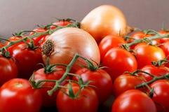 Aún-vida con las cebollas y los tomates Foto de archivo libre de regalías