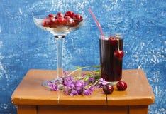 Aún-vida con las cerezas y el jugo de la cereza Foto de archivo libre de regalías