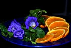 Aún-vida con las flores anaranjadas y azules Imágenes de archivo libres de regalías