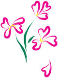 Aún-vida con las flores rosadas como corazón-forma Imagen de archivo