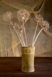 Aún-vida con las flores secas en florero Fotografía de archivo
