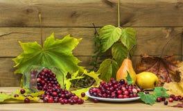 Aún-vida con los arándanos, las peras y las hojas de otoño en un backgr Fotos de archivo